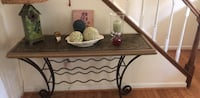 Rectangular black metal framed glass top table Herndon, 20171