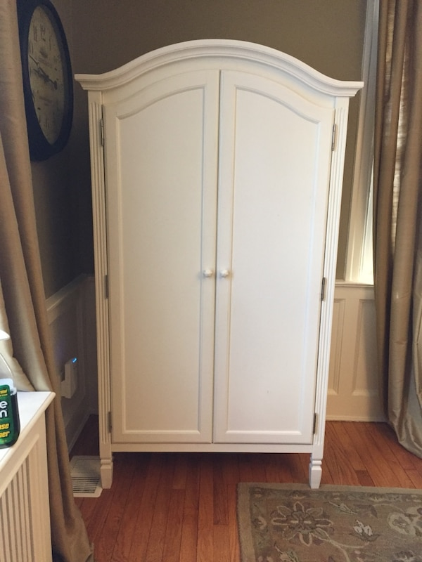 Used White Wooden Cabinet With Mirror For Sale In