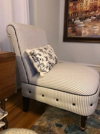 white and gray stripe fabric sofa chair null