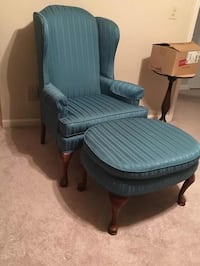 Oversized wing back chair and footrest.  Wood Queen Anne legs. Teal fabric. Well constructed! Cumming area, GA 400, exit 14.  Cash only. Cumming, 30041