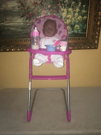 """Zapf 18"""" Doll and High Chair"""
