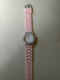 Diamond-embellished silver-colored Geneva analog watch with pink rubber strap Sanford, 27330