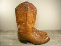 Tony Lama CZ962 Exotic Leather Cowboy Western Pull On Men's Boots 11 Maple Grove