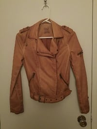 Tan leather side zip jacket size small