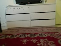 white and brown wooden dresser