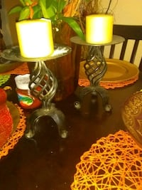 two brown wooden candle holders Tampa, 33612