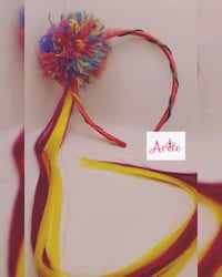 Hair band with pompom candy colors