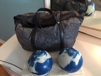 two white-and-blue bowling ball