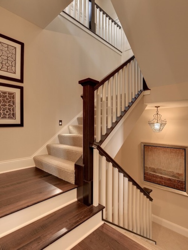 White and brown wooden stairs