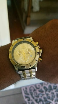 round gold-colored chronograph watch with link bracelet Alabaster, 35007