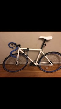 White and blue fixed gear