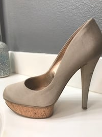 BCBG TAN PLATFORM HIGH HEEL WOMEN SHOES STILETTOS SIZE 7.5 Lancaster, 93536
