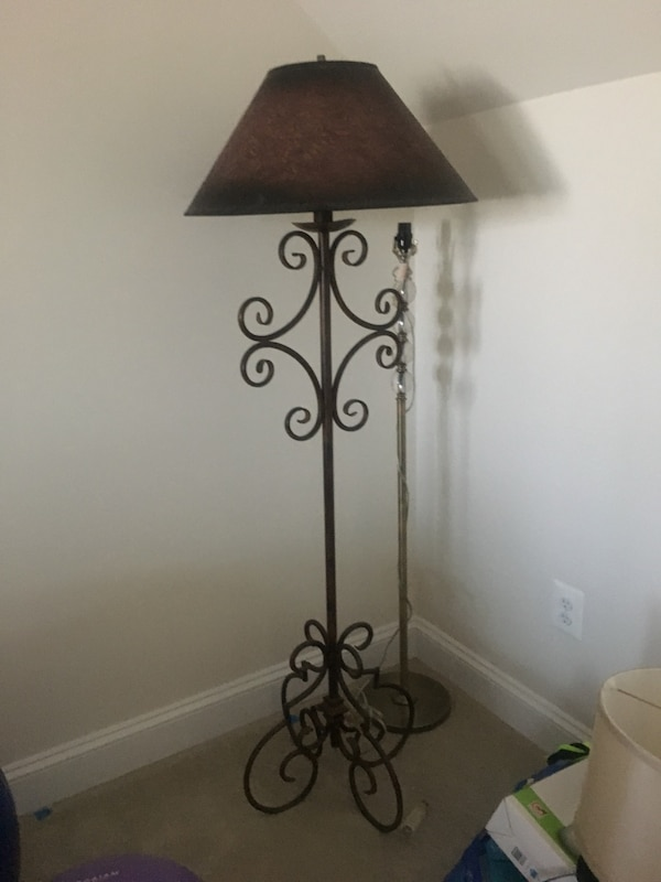 black metal base with white lampshade floor lamp