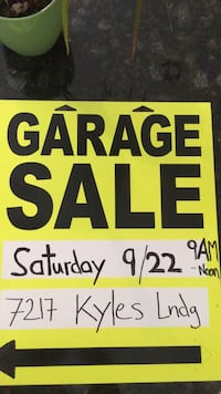 Garage Sale text on white paper Springfield, 22150