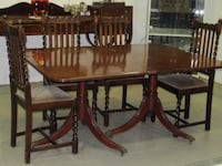 Brown wooden dining table set 536 km