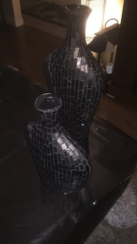 two gray-and-black vases