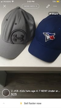 2-25$~Kids hats age 4-7 NEW! Under armour and blue jays London, N5W 1C7