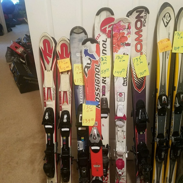Snow skis & boots many sizes & cost 79 cm to 183