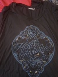 black and blue printed crew-neck t-shirt