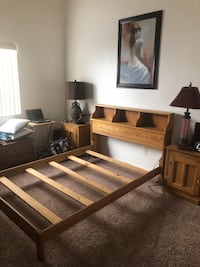 Full size oak bed frame and mattress . Las Vegas, 89120