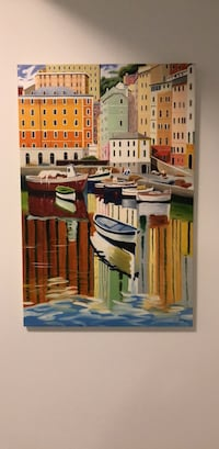 Painting of boats, pier Toronto, M5T 2H5