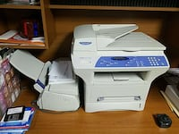 white and blue multi-function printer