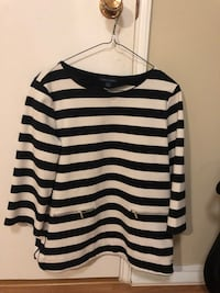 black and white stripe scoop neck long sleeve shirt Richmond, V7A 4M2