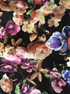women's black purple pink yellow and blue floral pants