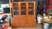 brown wooden framed glass cabinet Rancho Cucamonga, 91739