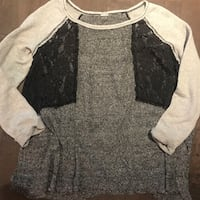 Authentic free people women's sweater ~ lace detailing ~ size large Surrey, V4N 6A2