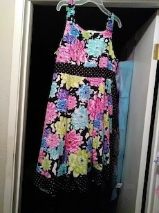 black, teal, and pink floral sleeveless dress