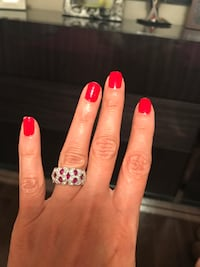 sterling silver ring, with natural ruby and cubic  cubic zirconia, size 7 TORONTO