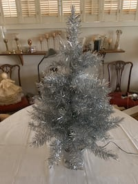 Silver colored table top fiber optic Christmas Tree Edmonton, T6C 4C8