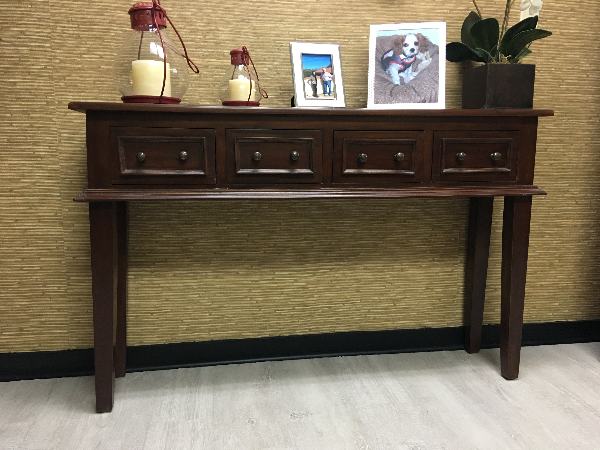 Used 4 Drawer Dark Wood Console Table For Sale In Miami