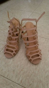 pair of brown leather open-toe gladiator sandals Brawley, 92227