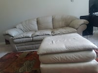 5 seat Off-white leather Couches with Ottoman Lake Forest