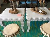 white wooden side tables $95.00 each