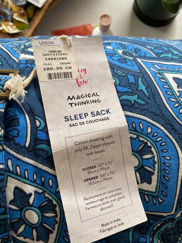 *new never used* magical thinking sleeping bag  1