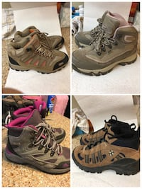 Women's girls size 7 hiking boots and shoes