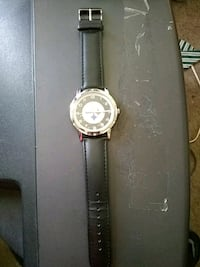 round silver analog watch with black leather strap Omaha, 68104
