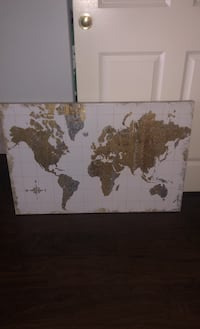 Canvas painting of gold silver world map