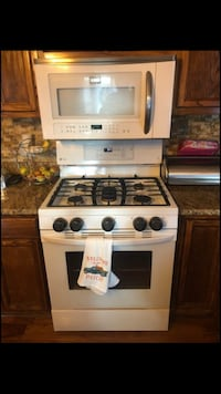 Gas range oven and microwave