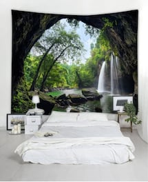DEEP FOREST WATERFALL SCENERY TAPESTRY NEWDEEP FOREST WATERFALL SCENERY TAPESTRY NEW