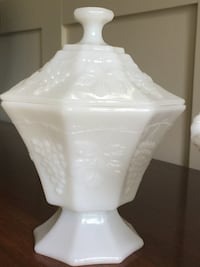 Two beautiful vintage milk glass containers - one with lid is $30.00 and the open container is $35.00 Vancouver, V6K 2W4