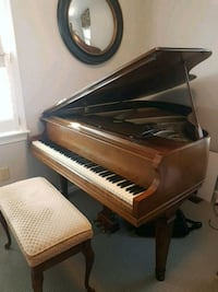 brown wooden upright piano with chair Frederick, 21702