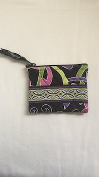 Small brown pink green Vera Bradley zipper pouch. 3.5x4.5 inches Germantown, 20874