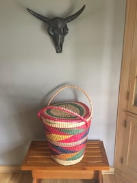 Mexican Basket, Large, Colorful, Travel, Imported, Mexico, Decor, Lid, Carry, Interior, Design, Boho, Hippie, Wicker, Weave, Organize Robbinsdale, 55422