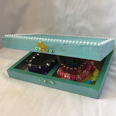 yellow and teal wooden jewelry box