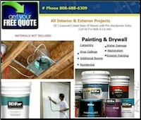 drywall Repairs, free quotes, day rate painter,  Honolulu