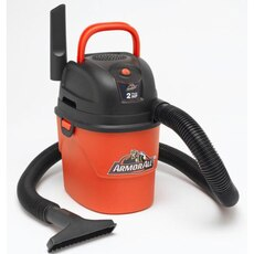 black and orange ArmorAll canister vacuum cleaner